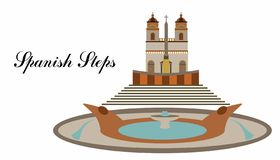 The illustration with landmark the spanosh steps vector illustration