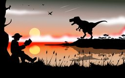 Dinosaurs story. Illustration  landscape of dinosaur story, animal`s wild world concept art Royalty Free Stock Photos