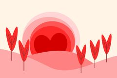 Illustration of a landscape in flat design cartoon  in sunrise symbol. Landscape form hearts for Valentine`s Day. Love and heart concept. Picture for print Royalty Free Stock Photo