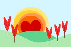 Illustration of a landscape in flat design cartoon  in sunrise symbol. Landscape form hearts for Valentine`s Day. Love and heart concept. Picture for print Royalty Free Stock Image