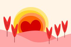 Illustration of a landscape in flat design cartoon  in sunrise symbol. Landscape form hearts for Valentine`s Day. Love and heart concept. Picture for print Royalty Free Stock Photos