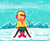 Illustration of landscape girl skiing Stock Images