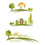 Illustration landscape with houses and trees Stock Photos
