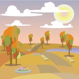 Illustration landscape  park and outdoor autumn. Vector illustration landscape  park and outdoor autumn Royalty Free Stock Photography