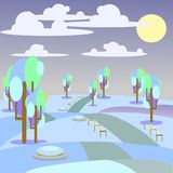 Illustration landscape  park and outdoor winter. Vector illustration landscape  park and outdoor winter Stock Photography