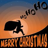 Illustration Landscape Santa Claus running with gifts Stock Photo