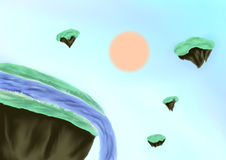 Illustration of landscape with sun and river as background. Illustration of fantasy landscape with sun, green floating islands and blue river in the style of oil Royalty Free Stock Images