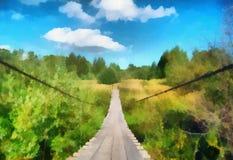 Illustration, landscape with suspension bridge Stock Images
