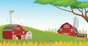 Illustration Landschafts-der roten Bauernhofscheune mit blauem Himmel Lizenzfreie Stockfotos