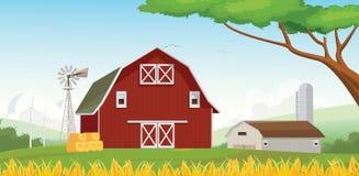 Illustration Landschafts-der roten Bauernhofscheune mit blauem Himmel Lizenzfreies Stockbild