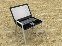 Illustration of a laptop as a beach seat Royalty Free Stock Photos