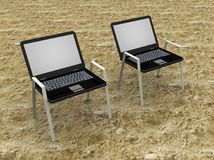 Illustration of a laptop as beach seat Royalty Free Stock Photography