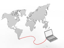 Illustration of a laptop connected to a world map Royalty Free Stock Photos