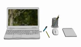 Illustration  of Laptop with cordless mouse notepad and pencils. On white background Stock Photo