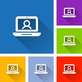 Laptop icons with long shadow. Illustration of laptop icons with long shadow Royalty Free Stock Photography