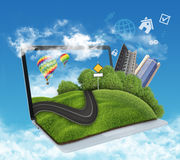 Illustration of laptop with meadow, road and Royalty Free Stock Photography