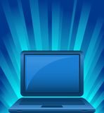 Illustration of laptop on shining background Royalty Free Stock Photography