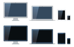 Illustration of laptop, tablet computer, monitor and mobi. Le phone template. Dark and light version