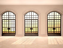 Illustration of Large arched window view of the sunset Royalty Free Stock Images