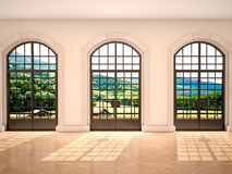 Illustration of large arched windows with a view of nature Royalty Free Stock Photography