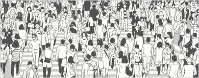 Illustration of large city crowd people tourist walking vector illustration