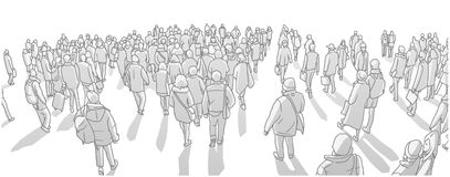 Illustration of large city crowd walking in perspective in black and white grey scale. Stylized drawing of urban crowd of people in winter clothing marching in vector illustration