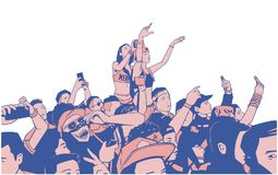 Illustration of large croncert crowd of people cheering at festival party with hands raised. Stylized drawing of party people at concert Stock Images