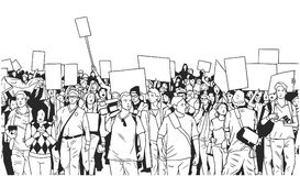 Illustration of large crowd of people demonstrating with blank signs. Stylized drawing of people protesting with signs and banners in black and white Royalty Free Stock Photography