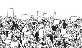 Illustration of large crowd of people demonstrating with blank signs. Stylized drawing of people protesting with signs and banners in black and white Royalty Free Stock Photo