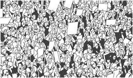 Illustration of large crowd of people demonstrating with blank signs. Stylized drawing of people protesting with signs and banners in black and white Royalty Free Illustration