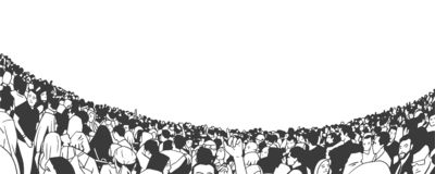 Illustration of large crowd of people fans in stadium arena stock illustration