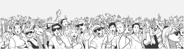 Stylized illustration festival crowd at live concert partying and having fun. Illustration large crowd of people partying at concert Royalty Free Stock Photography