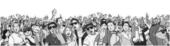 Stylized illustration festival crowd at live concert partying and having fun. Illustration large crowd of people partying at concert Stock Photos
