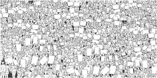Illustration of large crowd protest with blank signs and banner in black and white. Illustration of people protesting for human rights in black and white Stock Images