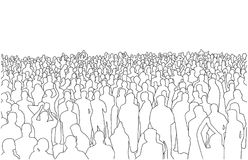 Illustration of large mass of people in perspective Royalty Free Stock Image
