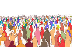 Illustration of large mass of people in perspective. Stylized drawing of crowd of people in perspective Stock Photos