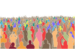Illustration of large mass of people in perspective Stock Photo
