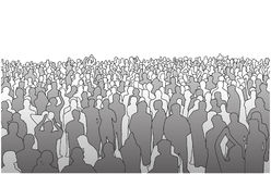 Illustration of large mass of people in perspective Stock Images