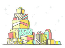illustration of large pile of red and green gifts standin Stock Photos