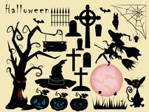 Illustration of a large set of design elements for the holiday i. Vector illustration of a set of design elements, on a holiday in October Halloween, happiness vector illustration