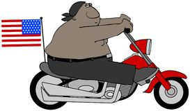 Patriotic biker guy Stock Images