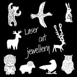 Illustration for laser cut jewelery. On a black background Stock Photos
