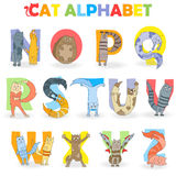 Illustration with Latin alphabet part 2, from N to Z, funny cartoon cat in the form of letters Royalty Free Stock Photos