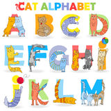 Illustration with Latin alphabet, part 1 ,from A to M, funny cartoon cat in the form of letters Stock Photo