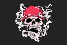 Illustration of a laughing skull wearing  a cap. Stock Image