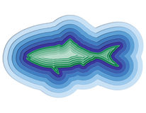 Illustration of a layered fish in the ocean Stock Photos