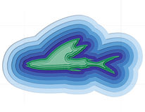 Illustration of a layered fish in the ocean. Illustration of a layered fish in the sea Stock Photo