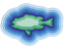 Illustration of a layered fish in the ocean Stock Image