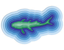 Illustration of a layered fish in the ocean. Illustration of a layered fish in the sea Stock Images
