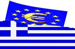 Illustration le drapeau grec, euro symbole Photographie stock libre de droits